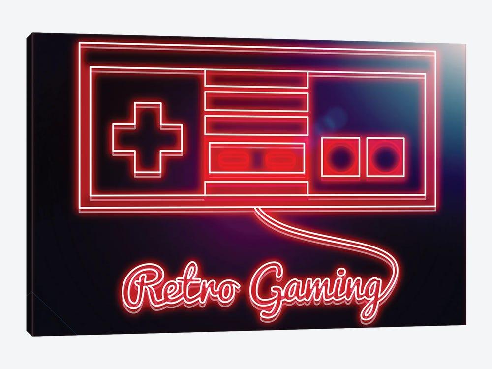 Neon Retro Gamer by Donnie Art 1-piece Canvas Art Print