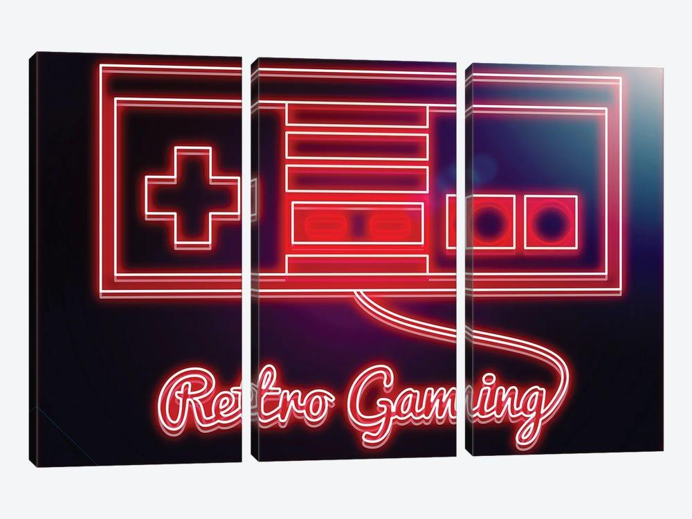 Neon Retro Gamer by Donnie Art 3-piece Art Print