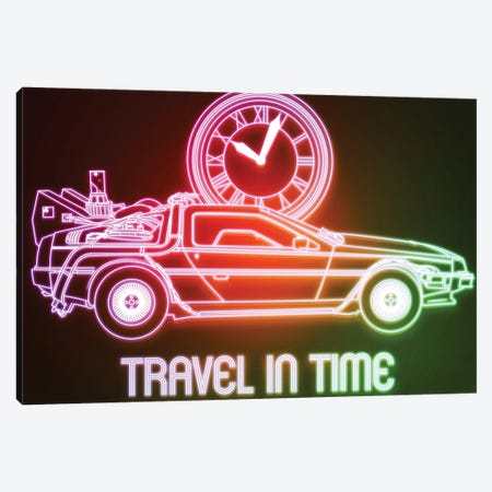Neon Travel In Time Canvas Print #DNI76} by Donnie Art Canvas Print
