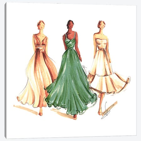 On The Runway In Green And Beige Canvas Print #DNK18} by Dorina Nemeskeri Canvas Art