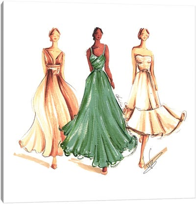 On The Runway In Green And Beige Canvas Art Print