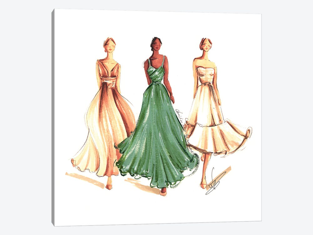On The Runway In Green And Beige by Dorina Nemeskeri 1-piece Canvas Artwork