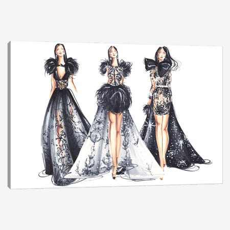 Three Ladies In Black Canvas Print #DNK19} by Dorina Nemeskeri Canvas Wall Art