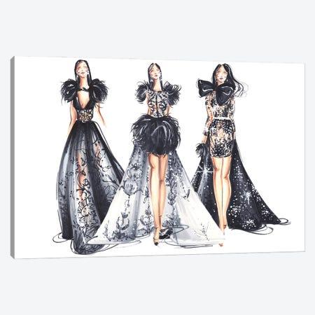 Three Ladies In Black Canvas Print #DNK19} by Dorina Nemeskeri Canvas Wall Art