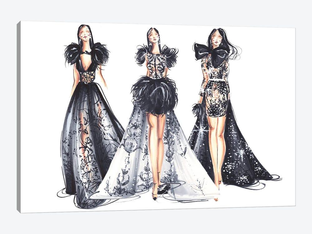 Three Ladies In Black by Dorina Nemeskeri 1-piece Canvas Art Print