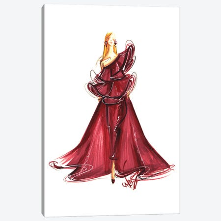 Lady In Burgundy Gown Canvas Print #DNK20} by Dorina Nemeskeri Art Print