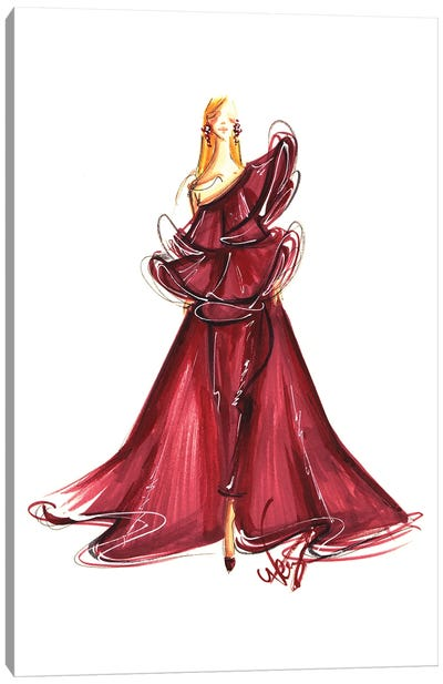 Lady In Burgundy Gown Canvas Art Print