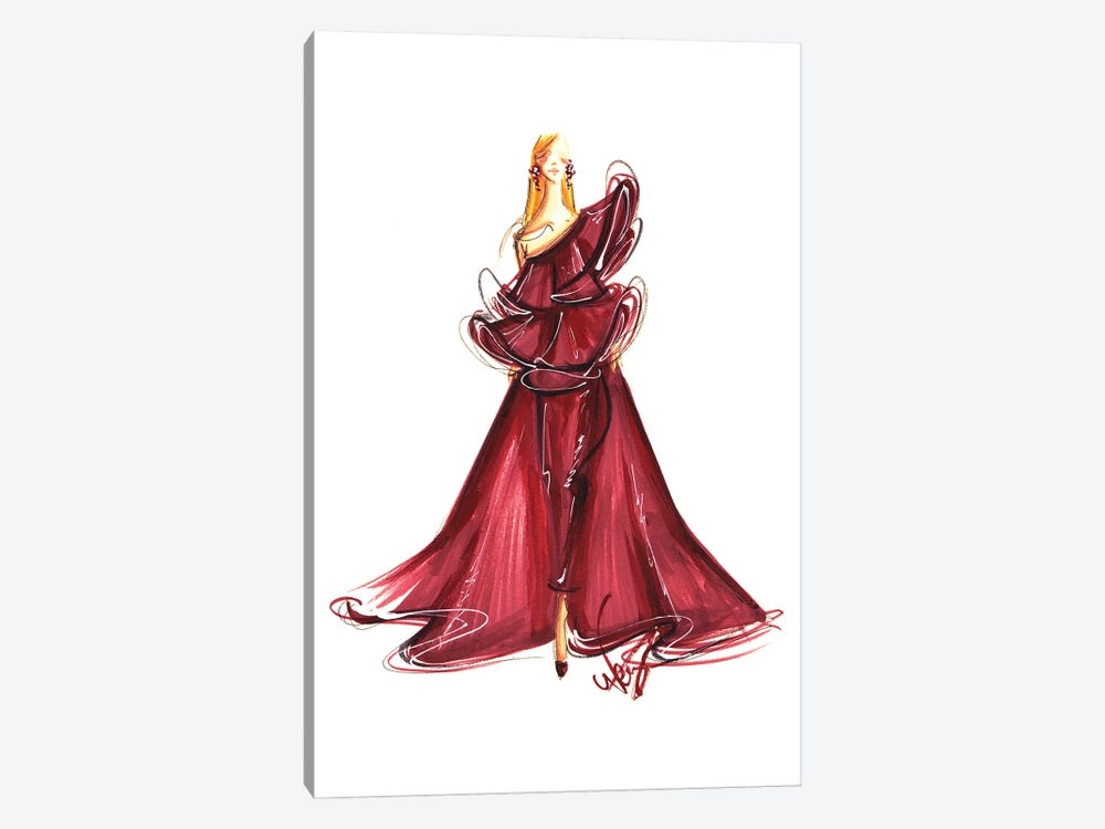 Lady In Burgundy Gown by Dorina Nemeskeri 1-piece Canvas Art Print