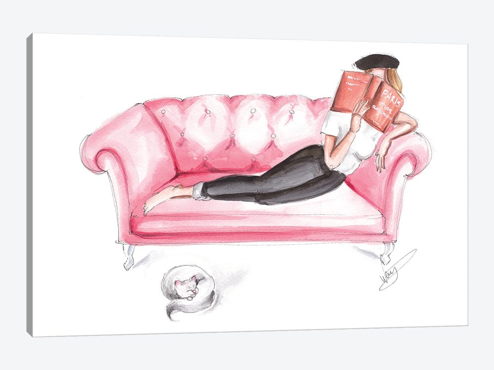 Girl Reading With Cat by Dorina Nemeskeri 1-piece Canvas Wall Art