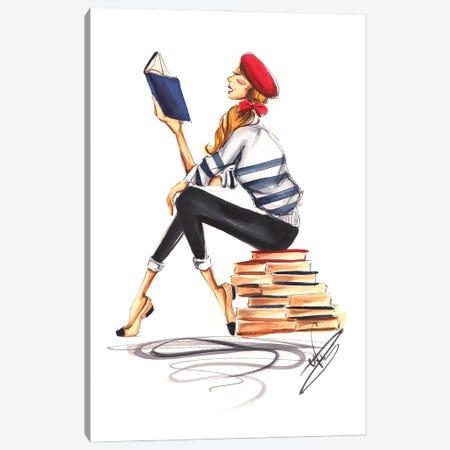 Parisienne Girl Reading Canvas Print #DNK27} by Dorina Nemeskeri Canvas Art