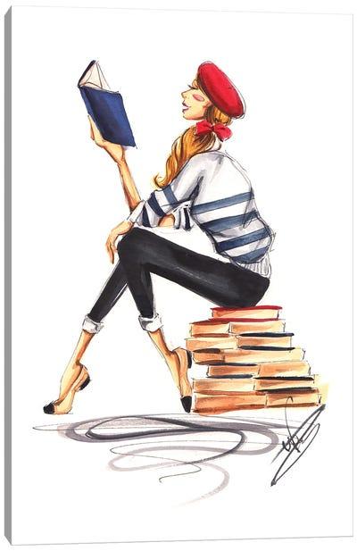 Parisienne Girl Reading Canvas Art Print