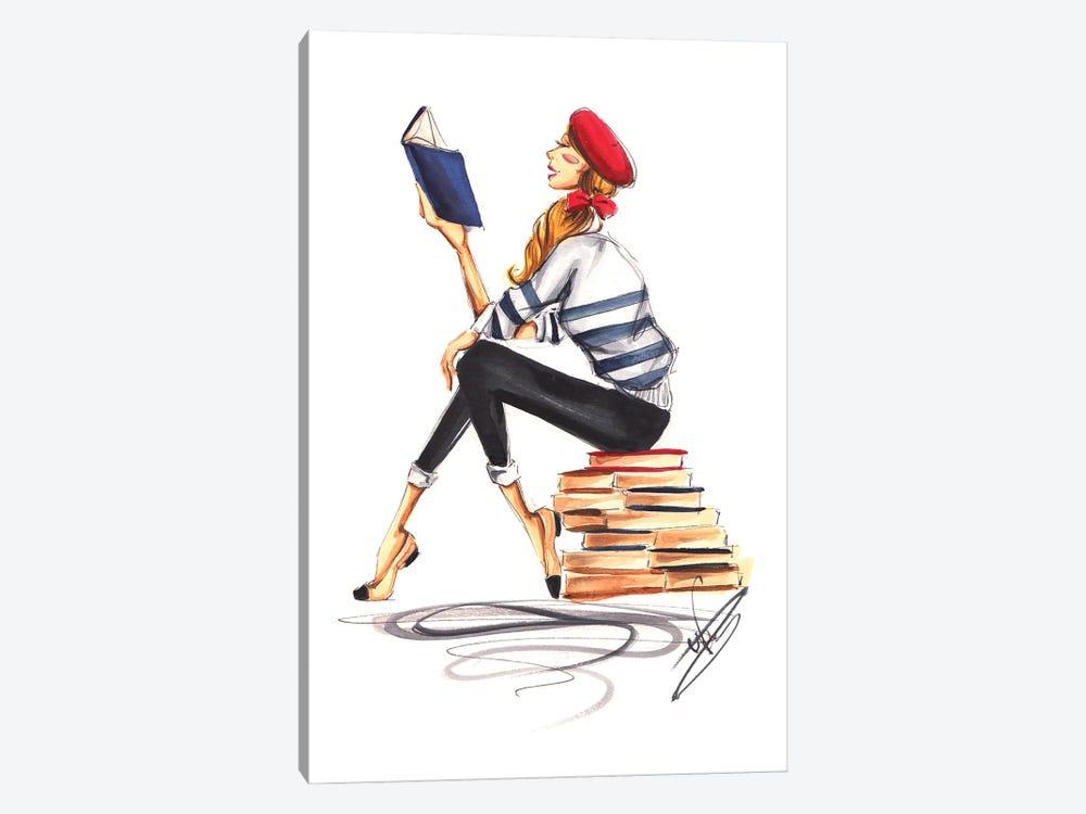 Parisienne Girl Reading by Dorina Nemeskeri 1-piece Canvas Wall Art