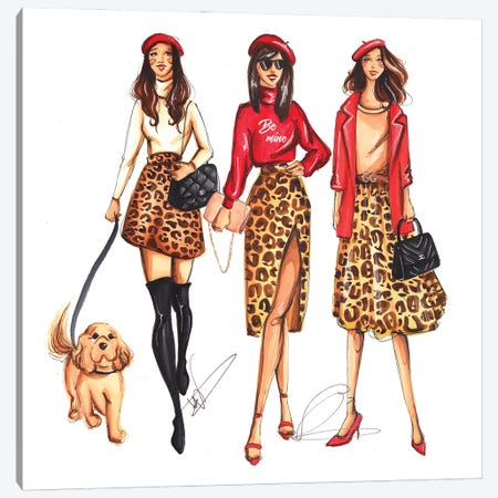 Ladies In Leopard Pattern Canvas Print #DNK2} by Dorina Nemeskeri Canvas Art Print