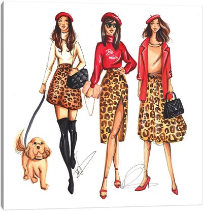Ladies In Leopard Pattern Canvas Art Print