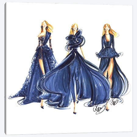 Ladies In Royal Blue Gowns Canvas Print #DNK32} by Dorina Nemeskeri Canvas Artwork