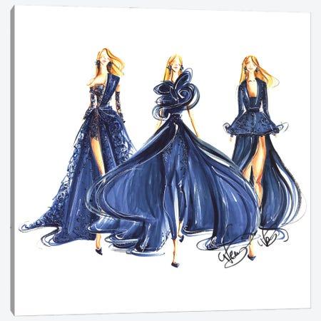 Ladies In Royal Blue Gowns Canvas Print #DNK32} by Dorina Nemeskeri Canvas Artwork