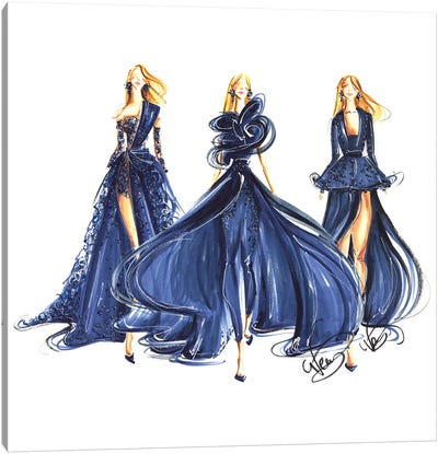 Ladies In Royal Blue Gowns Canvas Art Print