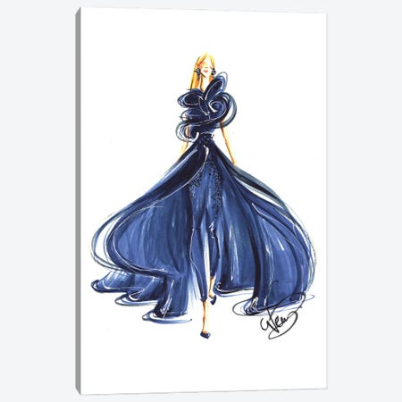 Lady In Royal Blue Gown Canvas Print #DNK33} by Dorina Nemeskeri Canvas Wall Art
