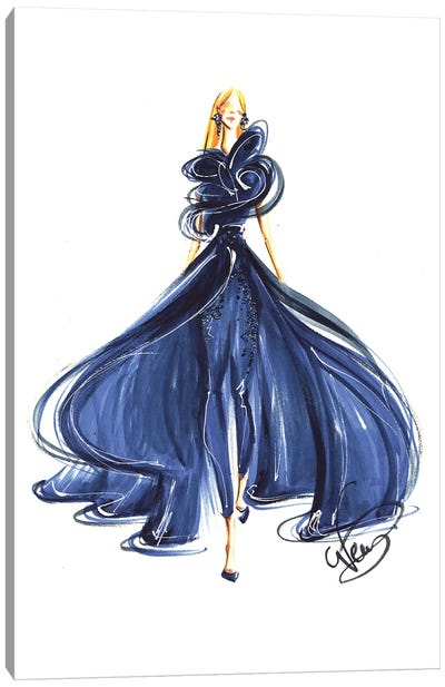 Lady In Royal Blue Gown Canvas Art Print