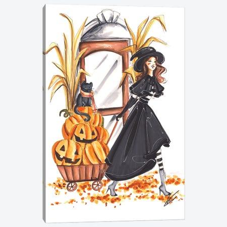 Halloween Witch And Pumpkins Canvas Print #DNK37} by Dorina Nemeskeri Art Print