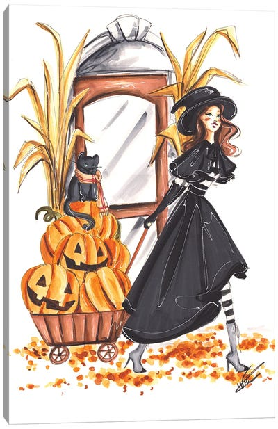 Halloween Witch And Pumpkins Canvas Art Print