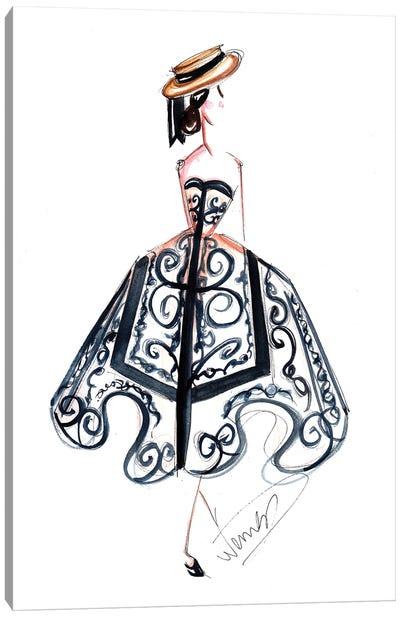 Lady In Majolica Print Dress Canvas Art Print