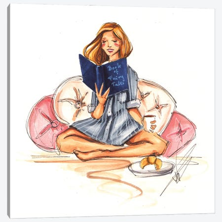 French Girl Reading Canvas Print #DNK3} by Dorina Nemeskeri Art Print