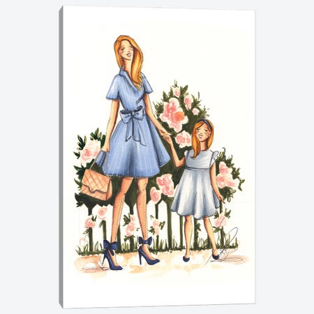 Mom And Daughter Canvas Print #DNK40} by Dorina Nemeskeri Art Print