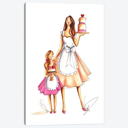 Mother's Day Baking Canvas Print #DNK41} by Dorina Nemeskeri Canvas Art Print