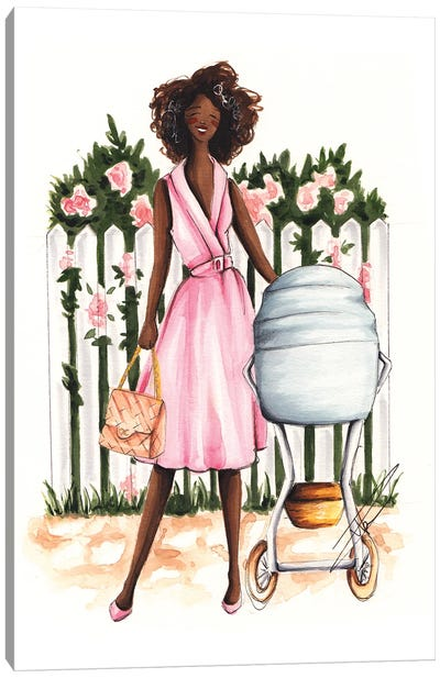 Spring Stroll With Baby Canvas Art Print