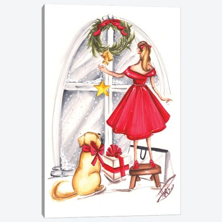 Christmas Decorating Canvas Print #DNK44} by Dorina Nemeskeri Canvas Wall Art