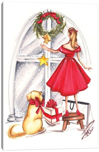Christmas Decorating Canvas Art Print