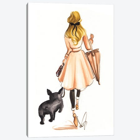 Fall Stroll With Frenchie Canvas Print #DNK45} by Dorina Nemeskeri Canvas Artwork