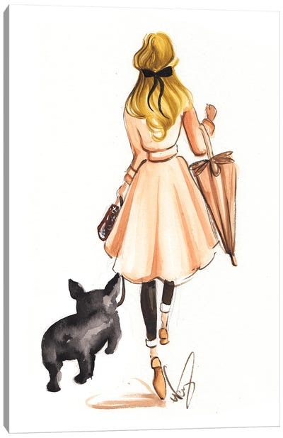 Fall Stroll With Frenchie Canvas Art Print