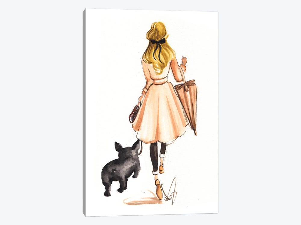 Fall Stroll With Frenchie by Dorina Nemeskeri 1-piece Canvas Wall Art