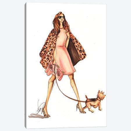Walk With Yorkie Canvas Print #DNK47} by Dorina Nemeskeri Canvas Wall Art