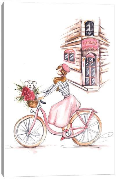 Girl On Bike In Paris Canvas Art Print