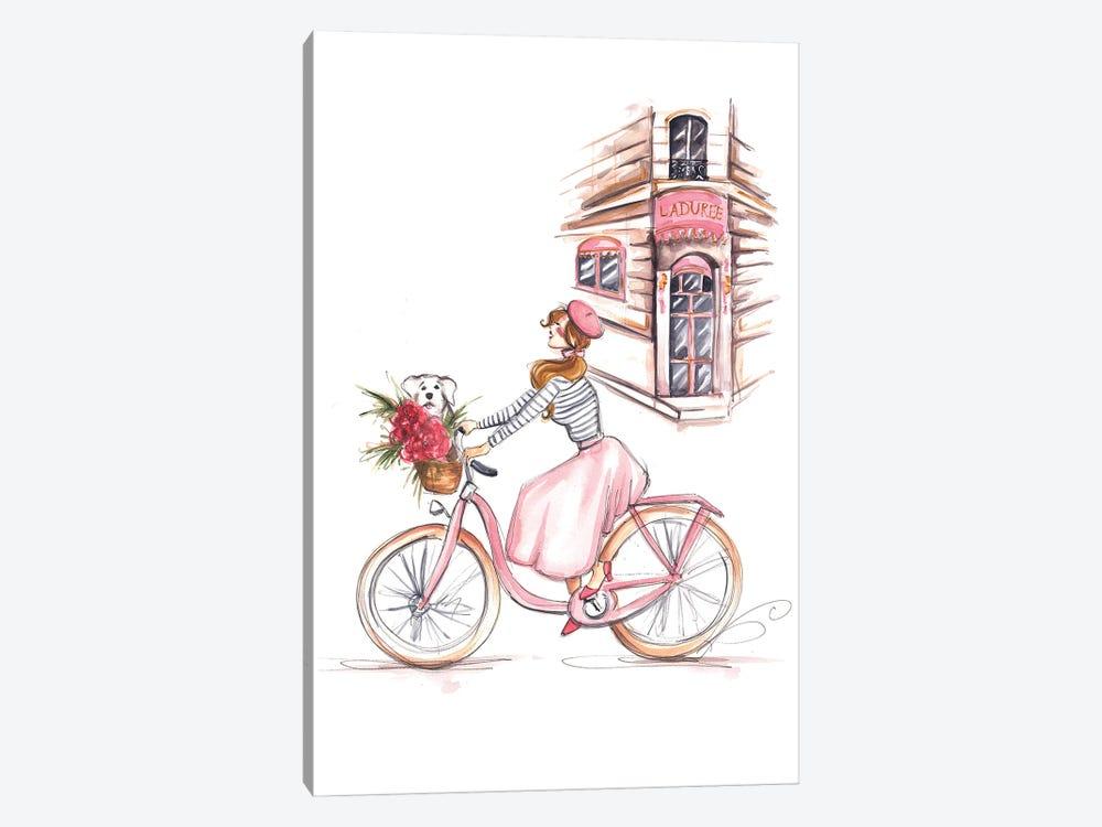 Girl On Bike In Paris by Dorina Nemeskeri 1-piece Canvas Artwork