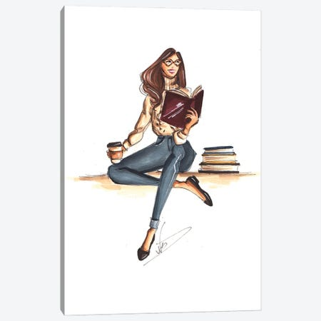 Cozy Bookworm Canvas Print #DNK52} by Dorina Nemeskeri Canvas Artwork