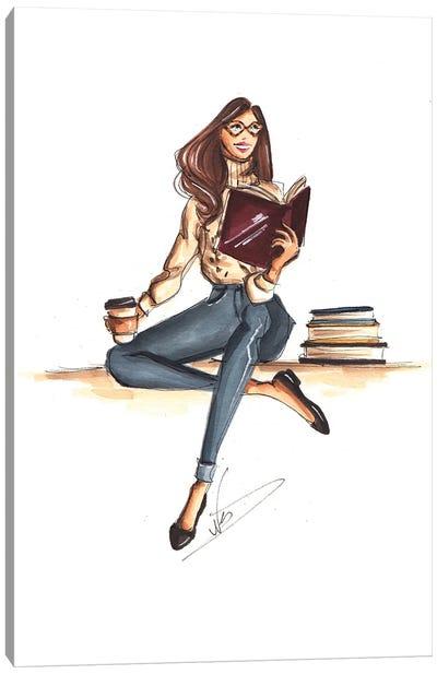 Cozy Bookworm Canvas Art Print