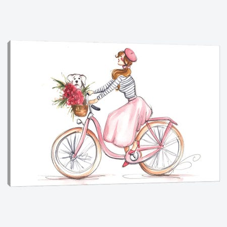 Girl In Pink On Bike Canvas Print #DNK53} by Dorina Nemeskeri Canvas Art