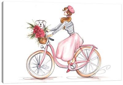 Girl In Pink On Bike Canvas Art Print