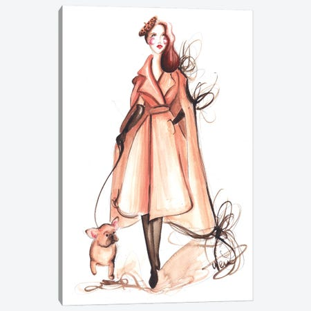 Elegant Lady With Frenchie Canvas Print #DNK59} by Dorina Nemeskeri Canvas Wall Art