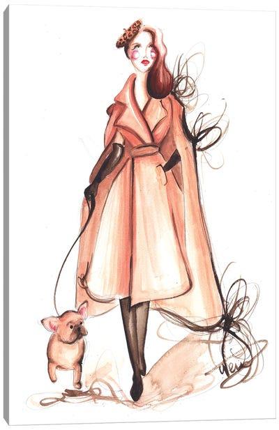 Elegant Lady With Frenchie Canvas Art Print
