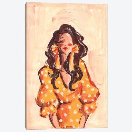 Lady In Orange Dress Canvas Print #DNK61} by Dorina Nemeskeri Canvas Art Print
