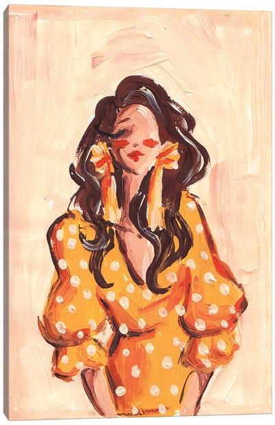 Lady In Orange Dress Canvas Art Print