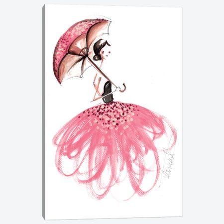 Girl With Umbrella Canvas Print #DNK63} by Dorina Nemeskeri Canvas Print