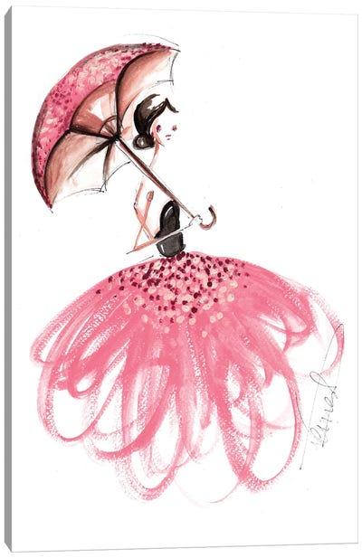 Girl With Umbrella Canvas Art Print