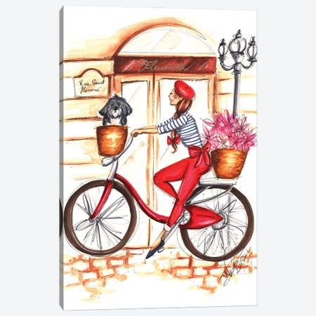 Girl On Red Bike Canvas Print #DNK66} by Dorina Nemeskeri Canvas Artwork