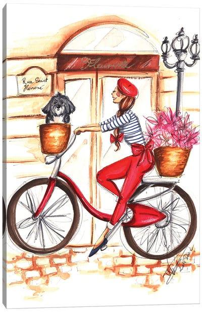 Girl On Red Bike Canvas Art Print